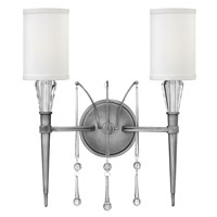 Fredrick Ramond Bentley 2 Light Sconce in Antique Nickel with White Linen Shade FR44502ANI