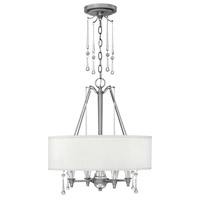 Fredrick Ramond Bentley 4 Light Chandelier in Antique Nickel with White Linen Shade FR44504ANI