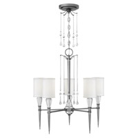Fredrick Ramond Bentley 5 Light Chandelier in Antique Nickel with White Linen Shade FR44505ANI