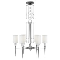 Bentley 6 Light 27 inch Antique Nickel Chandelier Ceiling Light in White Linen