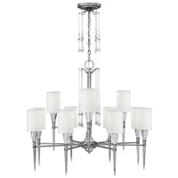 Fredrick Ramond Bentley 12 Light Chandelier in Antique Nickel with White Linen Shade FR44508ANI