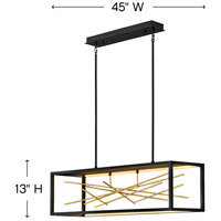 Fredrick Ramond FR46406BLK Styx LED 45 inch Black with Gilded Gold Linear Chandelier Ceiling Light alternative photo thumbnail