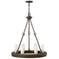 Fredrick Ramond Cabot 6 Light Chandelier in Rustic Iron with Etched Opal Glass FR48435IRN