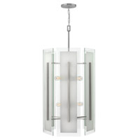 Fredrick Ramond Latitude 6 Light Foyer in Brushed Nickel with Clear Beveled Inside-Etched Glass FR56505BNI