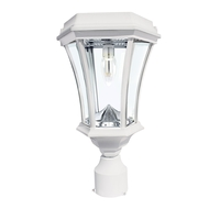 """Gama Sonic GS-94B-FPW-WHITE Victorian 15 inch White Solar Light with 3"""" Fitter"""