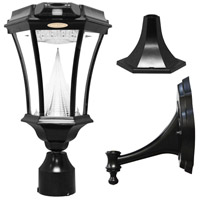 """Gama Sonic GS-94PIR-FPW Victorian 15 inch Black Solar Light with Motion Sensor and 3"""" Fitter"""