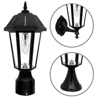 "Gama Sonic GS-149BFPW Topaz 16 inch Black Solar Lamp with 3"" Fitter"