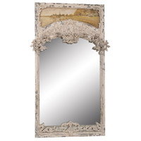Carved Trumeau 72 X 45 inch Bouleau Blanc with Vintage White Wall Mirror