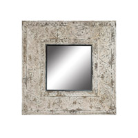 Embossed Metal 48 X 48 inch Distressed Antique White Mirrors Home Decor