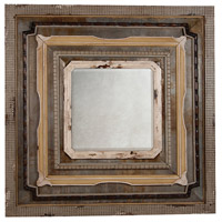 Aged Tin And Wood 60 X 60 inch Antique Metal Wall Mirror