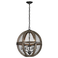 Renaissance Invention 3 Light 18 inch Aged Wood and Bronze Chandelier Ceiling Light