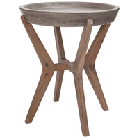 Tonga 18 X 18 inch Waxed Concrete and Silver Brushed Woodtone Side Table Home Decor