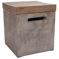 Midwest 16 X 16 inch Waxed Concrete and Silver Brushed Woodtone Side Table Home Decor