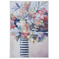 Striped Vase Still Life Floral Art with Hand-Painted White Wall Art