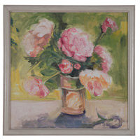 Pink Roses Still Life Hand-Painted Wall Art