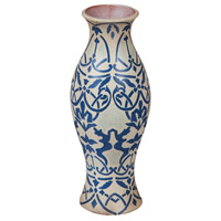 Guildmaster 204012 Eruopean 20 X 8 inch Vase in Blue,  White Damask