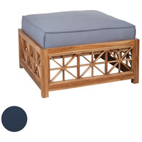 Teak Lattice Navy Outdoor Ottoman Cushion, Square