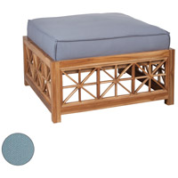 Teak Lattice Sea Green Outdoor Ottoman Cushion, Square