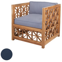 Vincent Lattice Navy Outdoor Chair Cushion, Set of 2