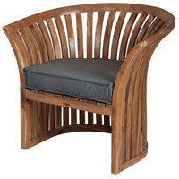 Teak 23 X 21 inch Grey Outdoor Barrel Chair Cushion