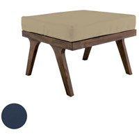 Teak Navy Outdoor Ottoman Cushion, Square
