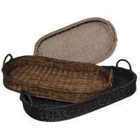 Rattan Black, Brown Tray