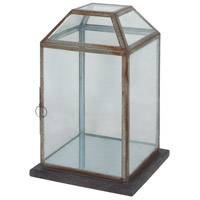 Display 21 inch Heritage Grey Stain and Natural Reclaimed Tin Lantern, Wood Base