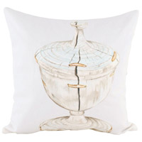 Guildmaster 2917042 White Urn 24 X 24 inch Handpainted Art Pillow