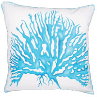 Coral Rope 20 X 20 inch White Polyester with Aqua Coral Outdoor Pillow