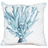 Coral 20 X 20 inch White Polyester with Blue Coral Outdoor Pillow