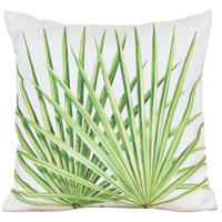 Leaf 3 20 X 20 inch White Polyester with Green Leaf Outdoor Pillow