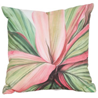 Leaf 6 20 X 20 inch White with Green Leaf and Pink Leaf Edges Outdoor Pillow, Hand-Painted