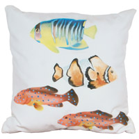 Fish 1 20 X 20 inch White with Salmon Fish and Blue Fish Outdoor Pillow, Hand-Painted