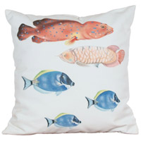 Fish 2 20 X 20 inch White with Blue Fish and Salmon Fish Outdoor Pillow, Hand-Painted