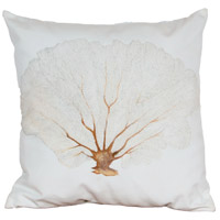 Pink Coral 2 20 X 20 inch White with Light Pink and Brown Outdoor Pillow, Hand-Painted