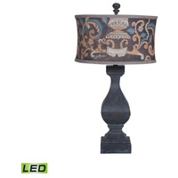 Carved Beacon 32 inch 9.5 watt Ash Black Stain Table Lamp Portable Light