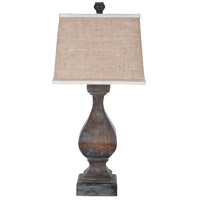 Carved Beacon 31 inch 100 watt Heritage Grey Stain Table Lamp Portable Light