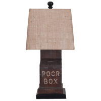 The Poor Box 26 inch Heritage Grey Stain Table Lamp Portable Light