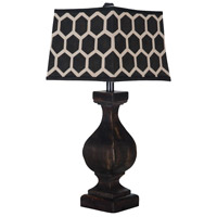 Carved Beacon 32 inch 100 watt Ash Black Table Lamp Portable Light