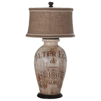 Terra Cotta I 34 inch 100 watt Handpainted and Heritage Grey Stain Table Lamp Portable Light, Alter Ego De Palmer Wine Label