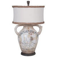 Terra Cotta II 26 inch 100 watt Original Art and Waterfront Grey Stain Table Lamp Portable Light, Handpainted Wine Label Graphics