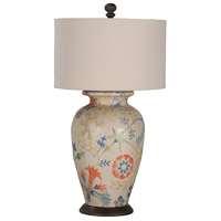 Terra Cotta IV 31 inch 100 watt Antique White and Heritage Grey Stain Table Lamp Portable Light, Floral Tile Art