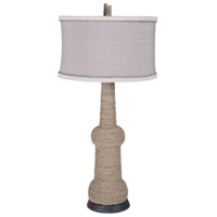 Rope 35 inch 100 watt Woodtone and Heritage Grey Stain Table Lamp Portable Light