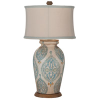 Terra Cotta VII 31 inch 100 watt Antique White and Heritage Grey Stain Table Lamp Portable Light, Original Art