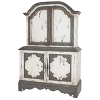 Crossroads European White and Garden Gate and Worm Pewter Media Cabinet