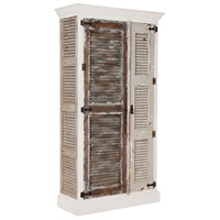 Waterfront Garden Lattice White and Vintage Glue Gris Shutter Cabinet