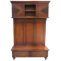 Scrolled Iron Handpainted Woodtone Hall Cabinet