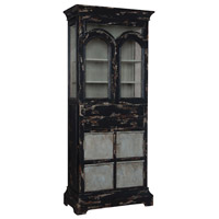 Farmhouse Vintage Noir and Signature Moss Grey Kitchen Display Cabinet