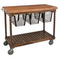 Teak Patio Burnt Umber Oil Outdoor Serving Cart