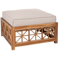 Teak Lattice 19 inch Euro Teak Oil with Cream Outdoor Ottoman, Square
